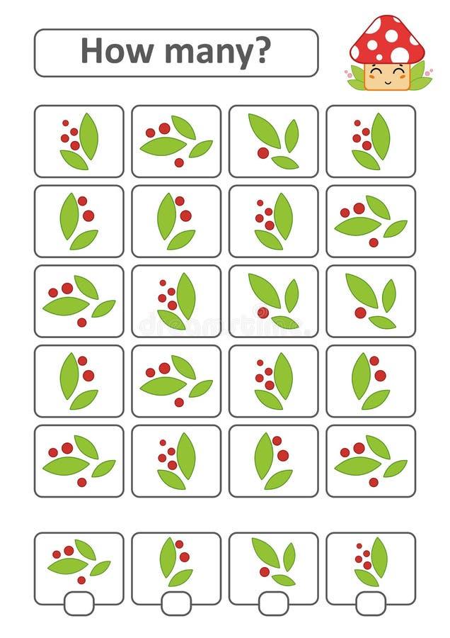 Tellend Spel voor Peuterkinderen De studie van wiskunde Met een plaats voor antwoorden Eenvoudige vlak geïsoleerde vectorillustra royalty-vrije illustratie