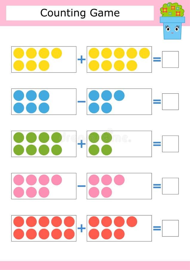 Tellend Spel voor Peuterkinderen De studie van wiskunde Toevoeging en aftrekking Gekleurde cirkels Met een plaats voor antwoord royalty-vrije illustratie