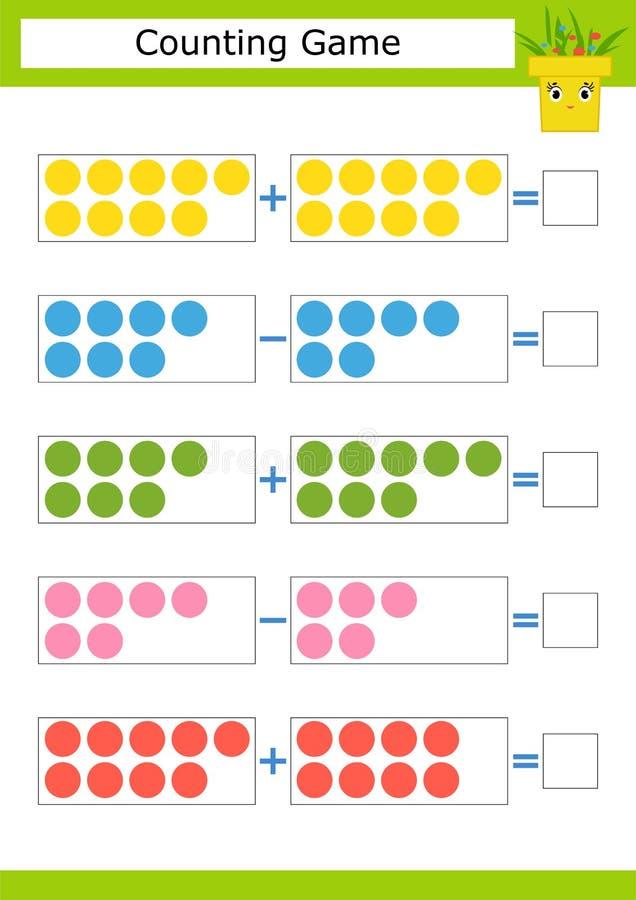 Tellend Spel voor Peuterkinderen De studie van wiskunde Toevoeging en aftrekking Gekleurde cirkels Met een plaats voor antwoord vector illustratie