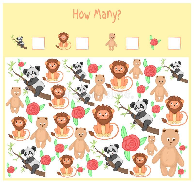 Tellend Spel voor Peuterkinderen Een wiskundig Onderwijsspel Tel hoeveel punten en het resultaat schrijf wild stock illustratie