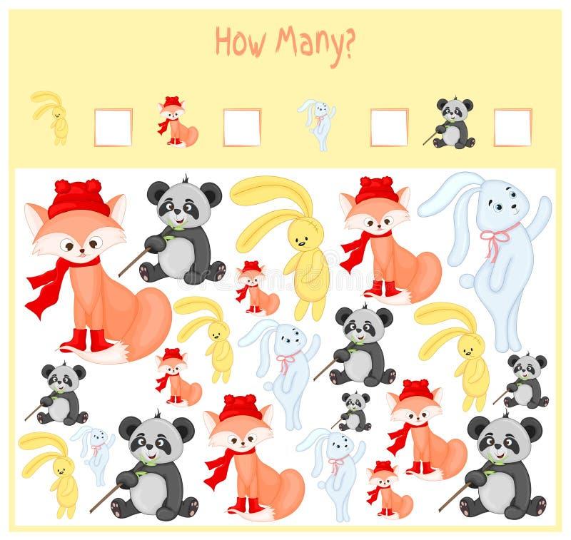 Tellend Spel voor Peuterkinderen Een wiskundig Onderwijsspel Tel hoeveel punten en het resultaat schrijf wild vector illustratie