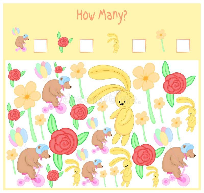 Tellend Spel voor Peuterkinderen Een wiskundig Onderwijsspel Tel hoeveel punten en het resultaat schrijf wild royalty-vrije illustratie