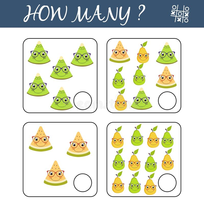 Tellend Spel voor Peuterkinderen Onderwijs een wiskundig spel Tel hoeveel vruchten en het resultaat schrijf vector illustratie