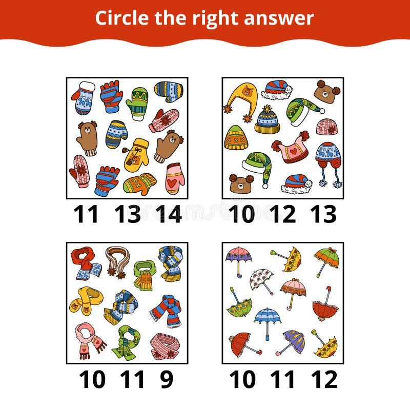 Tellend Spel voor Peuterkinderen over de toebehoren vector illustratie