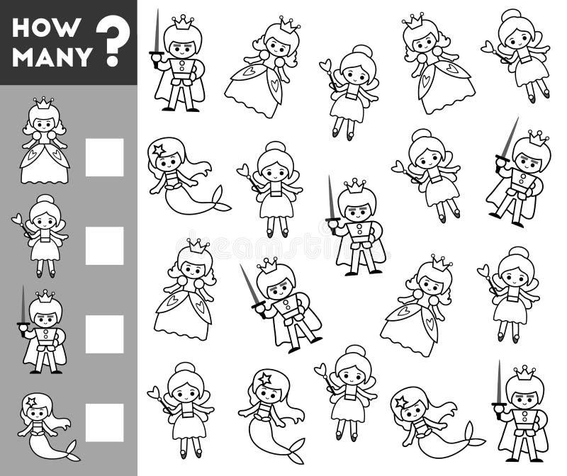 Tellend Spel voor Peuterkinderen sprookjekarakters vector illustratie