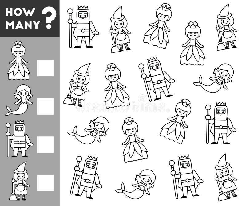 Tellend Spel voor Peuterkinderen sprookjekarakters stock illustratie