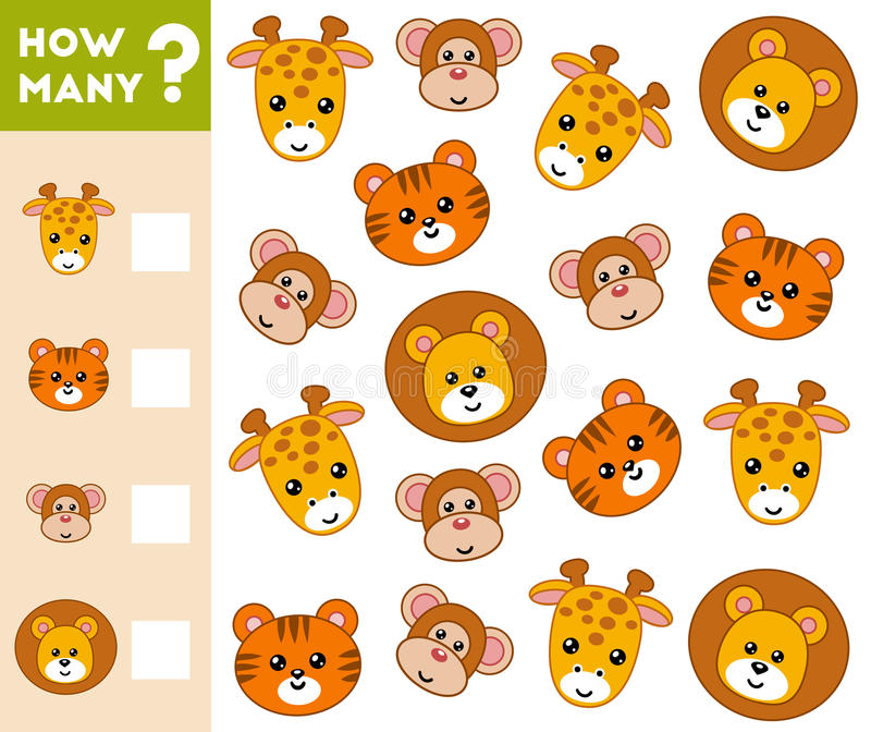 Tellend Spel voor Peuterkinderen Tel hoeveel dieren vector illustratie