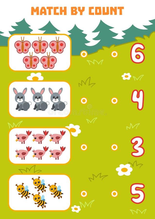 Tellend Spel voor Peuterkinderen Tellingsdieren stock illustratie