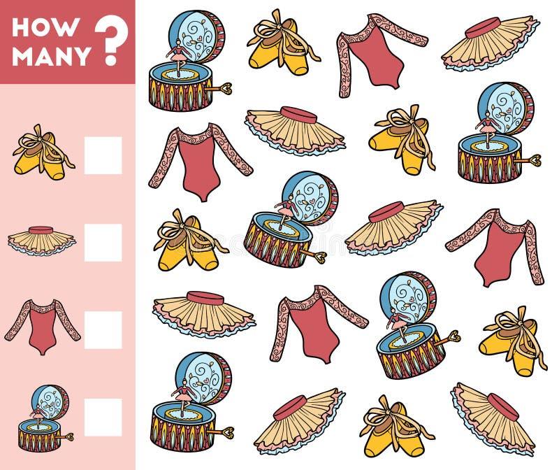 Tellend Spel voor Peuterkinderen Voorwerpen voor een ballet stock illustratie