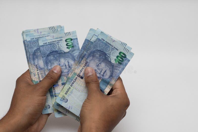 Tellende geld Zuidafrikaanse randen royalty-vrije stock foto's