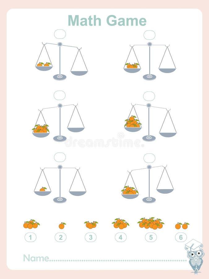 Tellende onderwijsspelenjonge geitjes, het blad van de jonge geitjesactiviteit, wiskundespel Voltooi de wiskundige vergelijking,  vector illustratie