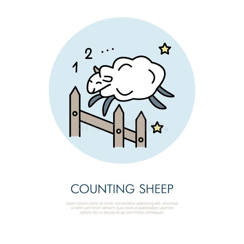 Tellende Schapenillustratie Modern vectorlijnpictogram van het springen schapen Slapeloosheids lineair embleem Overzichtssymbool  royalty-vrije illustratie
