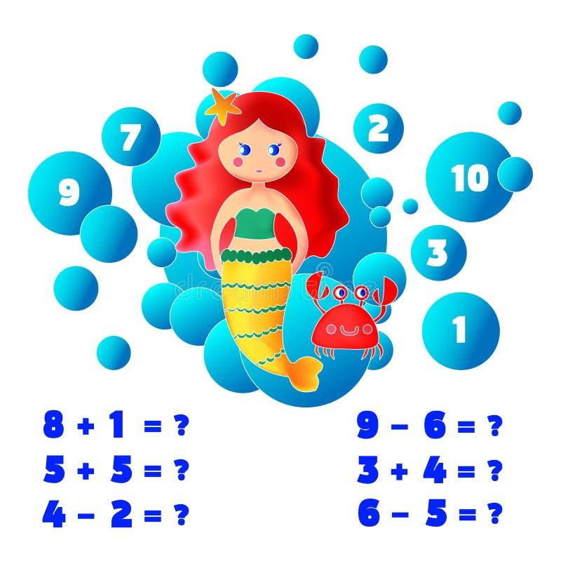 Tellende spel van het wiskunde het onderwijsspel voor jonge geitjes het Thema van Meerminnen vectorillustratie stock illustratie
