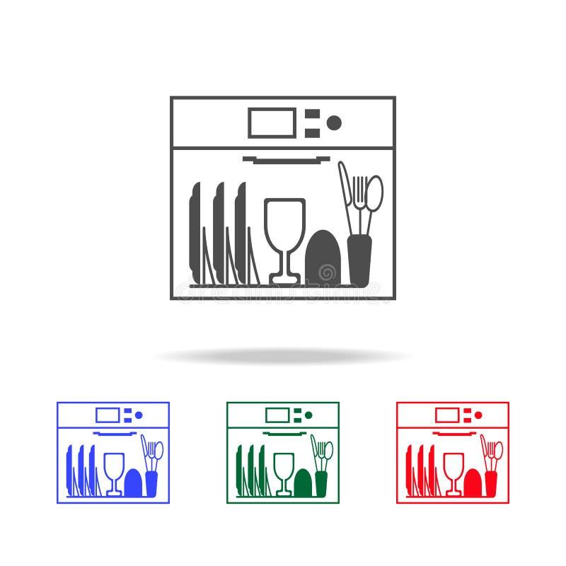 Teller in der Spülmaschinenikone Elemente der Reinigung in den multi farbigen Ikonen Erstklassige Qualitätsgrafikdesignikone Einf stock abbildung