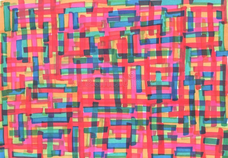 Teller het schilderen Kleurrijke horizontale en verticale strepen Grungehand getrokken textuur voor achtergrond De illustratie va vector illustratie