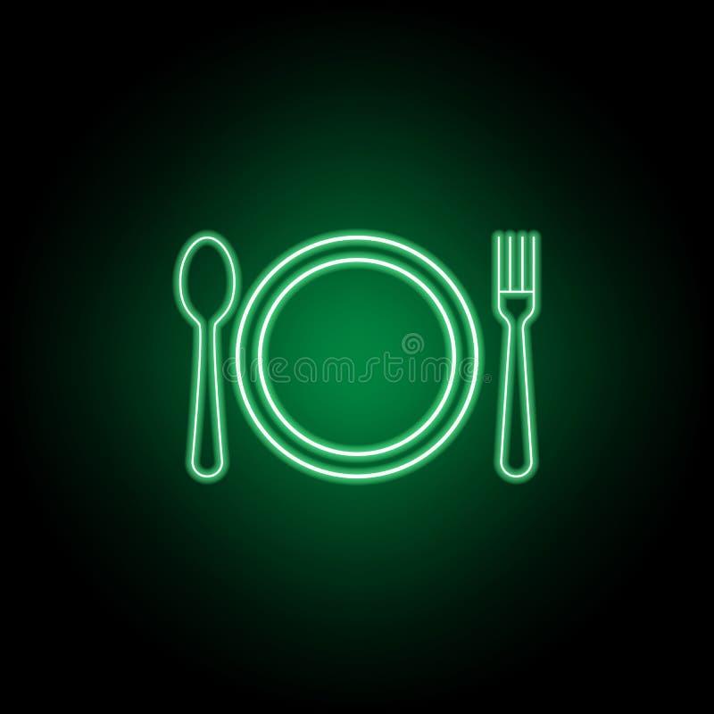 Teller, L?ffel, Messer, Tabellenetikettenikone Kann f?r Netz, Logo, mobiler App, UI, UX verwendet werden stock abbildung