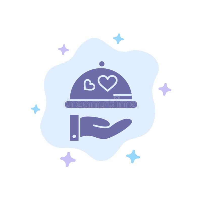 Teller, Liebe, Hochzeit, Herz-blaue Ikone auf abstraktem Wolken-Hintergrund stock abbildung