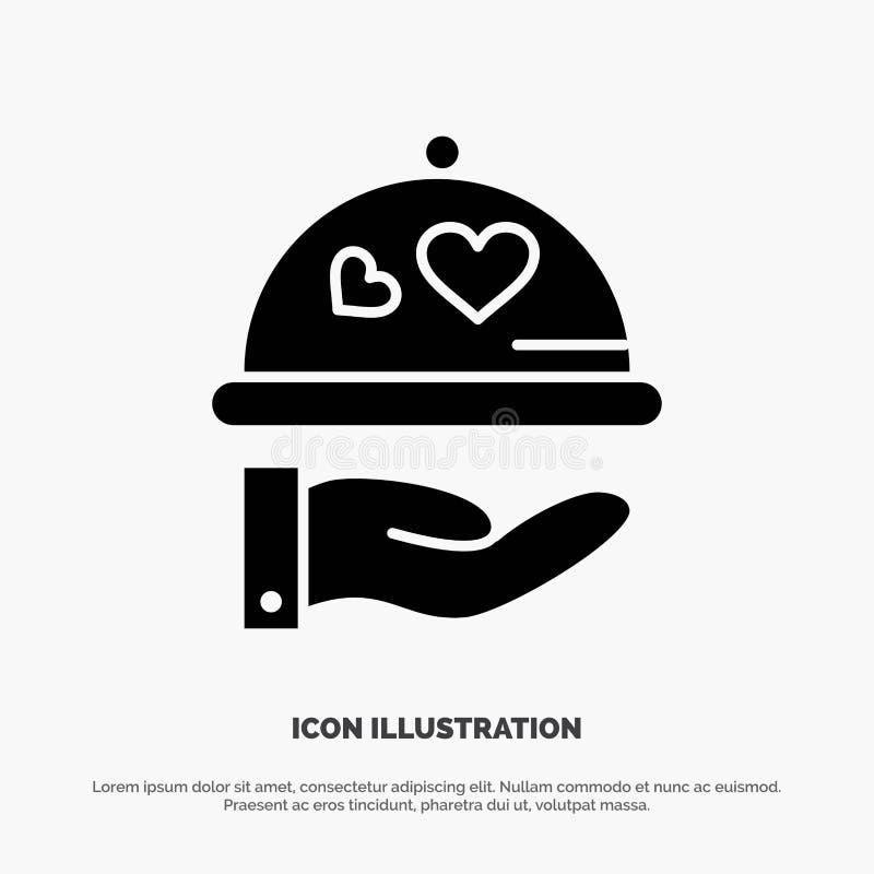 Teller, Liebe, Hochzeit, Herz fester Glyph-Ikonenvektor lizenzfreie abbildung