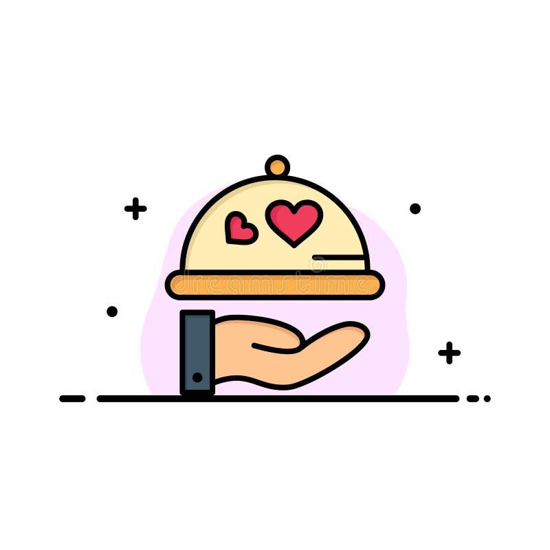 Teller, Liebe, Hochzeit, Herz-Geschäft Logo Template flache Farbe lizenzfreie abbildung