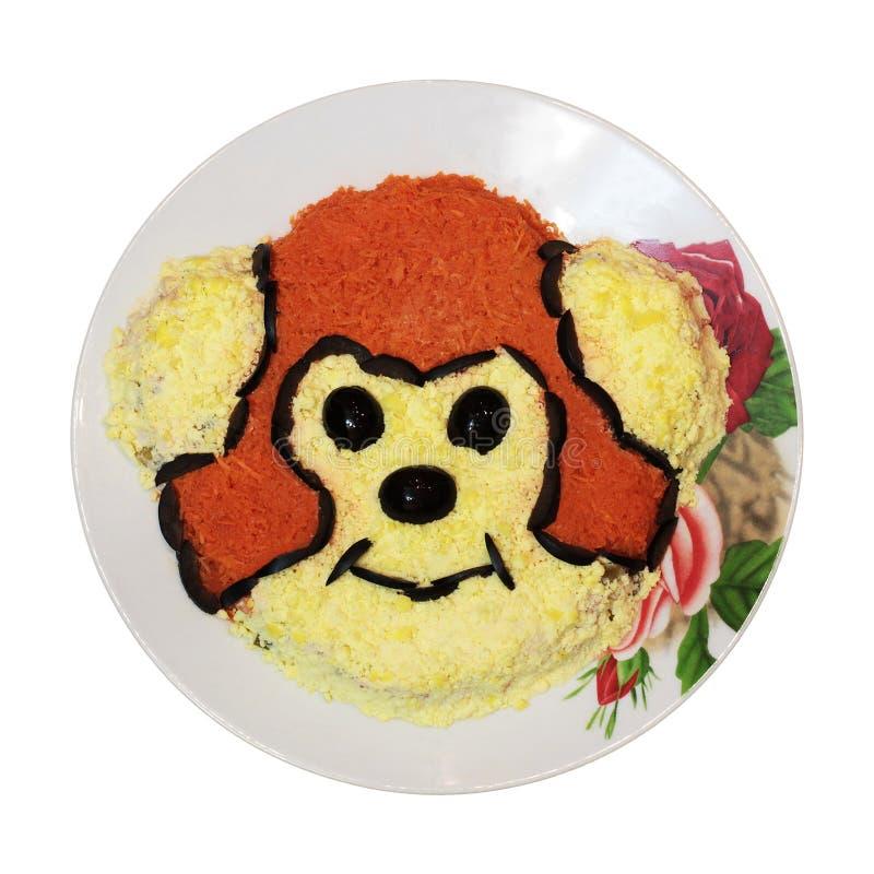 Teller mit dem Affen lokalisiert stockfotos