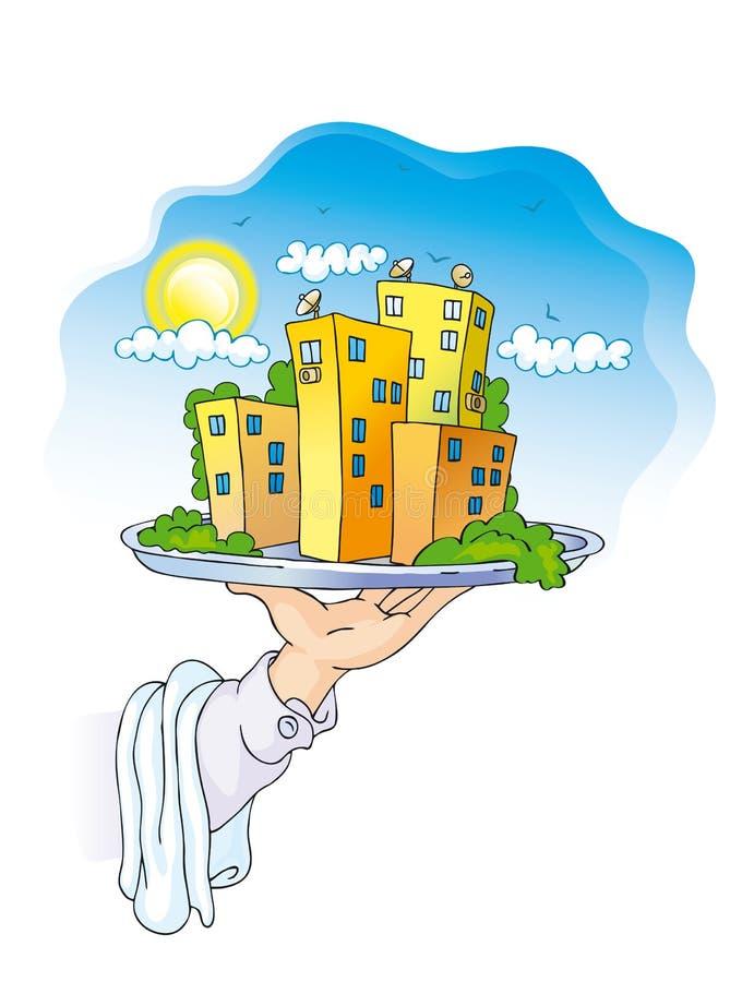 Teller mit Häusern stock abbildung