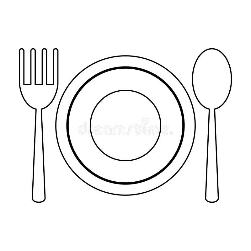 Teller mit Löffel und Gabel in Schwarzweiss stock abbildung