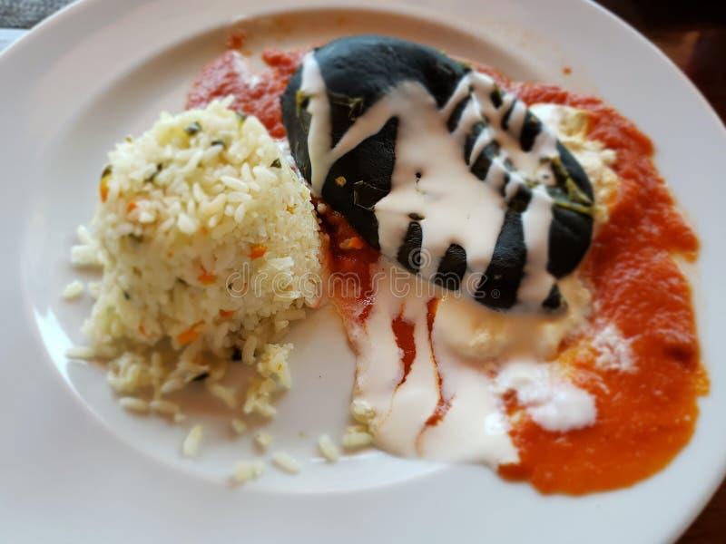 Teller mit Paprika Poblano mit Sahne gebadet in der roten Soße und im weißen Reis lizenzfreie stockfotografie