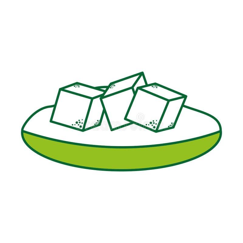 Teller mit Zuckerwürfeln vektor abbildung