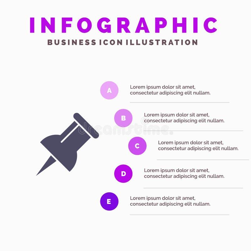 Teller, Pin Solid Icon Infographics 5 de Achtergrond van de Stappenpresentatie vector illustratie