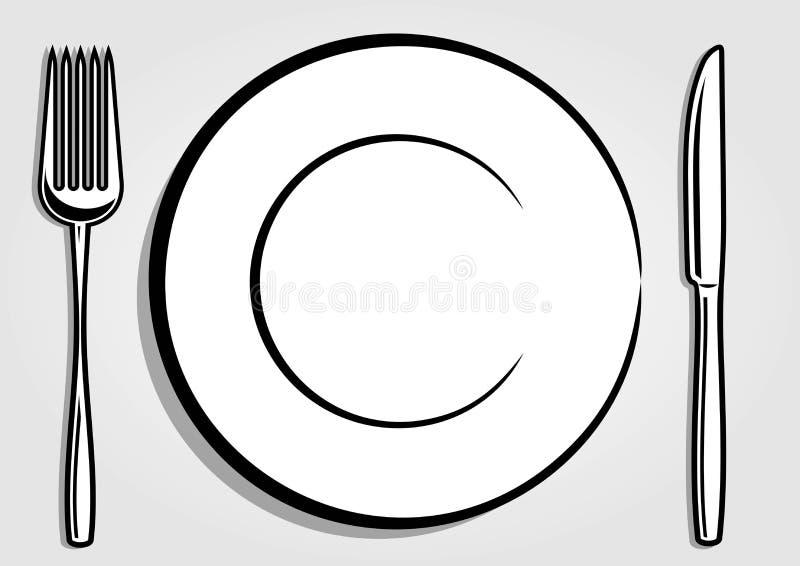 Teller-Platte, Gabel und Messer lokalisiert auf weißem Hintergrund Auch im corel abgehobenen Betrag stock abbildung