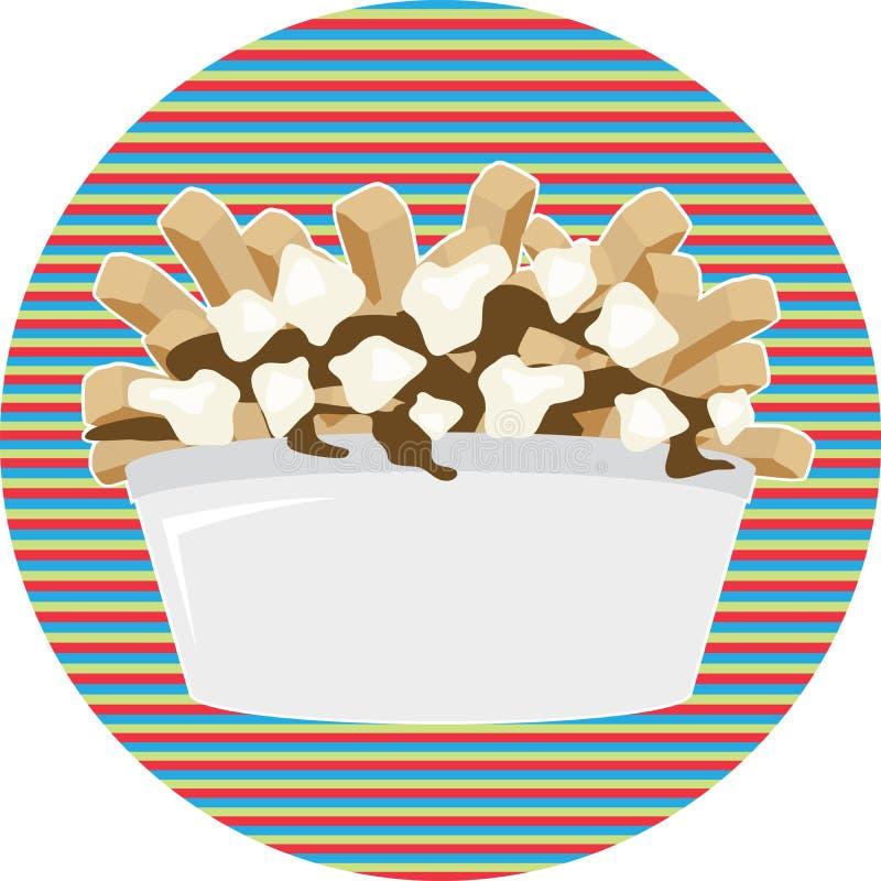 Teller Poutine Quebec mit Pommes-Frites vektor abbildung