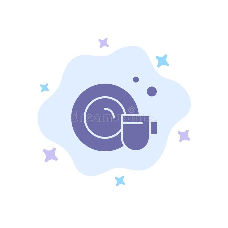 Teller, Schale, blaue Reinigungsikone auf abstraktem Wolken-Hintergrund vektor abbildung