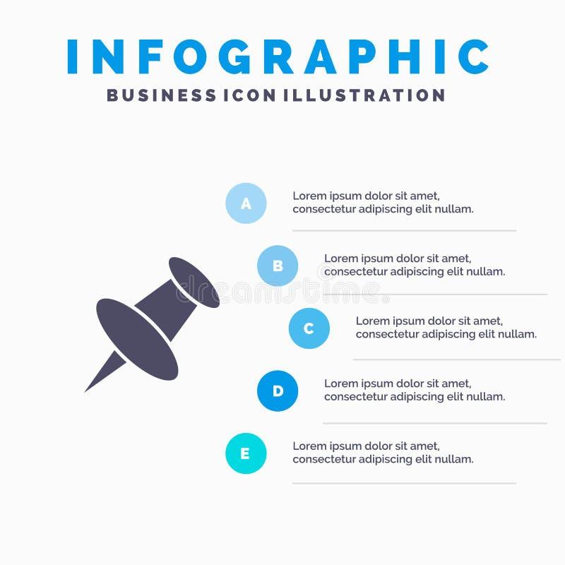 Teller, Speld, Mark Solid Icon Infographics 5 de Achtergrond van de Stappenpresentatie royalty-vrije illustratie