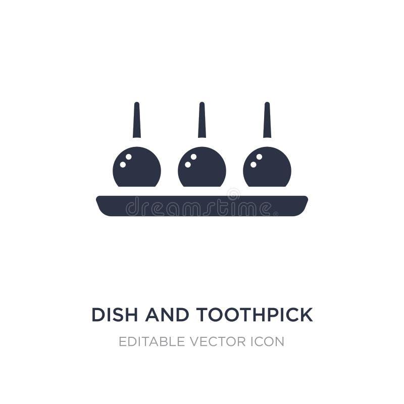 Teller- und Zahnstocherikone auf weißem Hintergrund Einfache Elementillustration vom Nahrungsmittelkonzept vektor abbildung