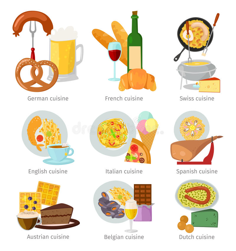 Teller-Vektorillustration des europäischen Küchelebensmittelmittagessens köstliche geschmackvolle stock abbildung