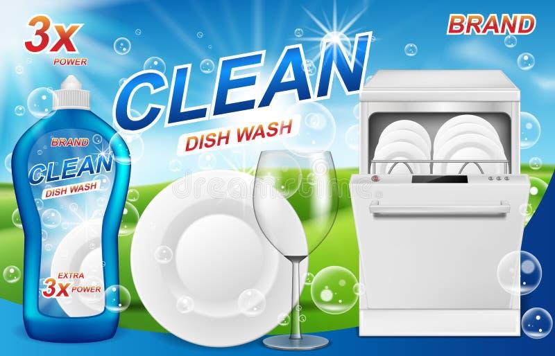 Teller waschen Seifenanzeigen Realistischer Plastikabwasch, der mit reinigendem Gelentwurf verpackt Flüssigseife mit sauberen Tel lizenzfreie abbildung
