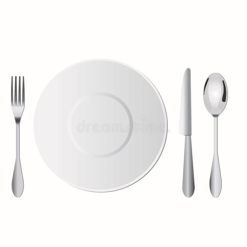 Tellereinrichtung auf Tabelle umfassen Gabel, Löffel und Messer lizenzfreie stockfotografie