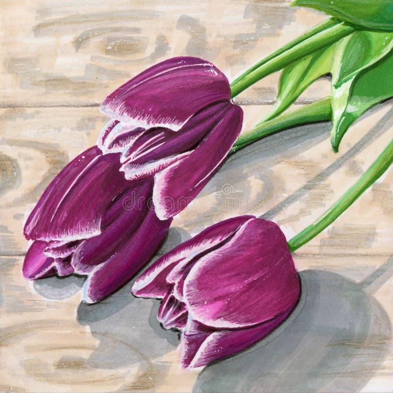 Tellersillustratie met tulpen royalty-vrije stock foto