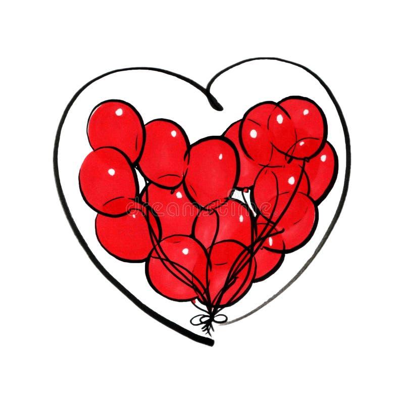 Tellersillustratie van rode die ballons in de hartvorm op witte achtergrond wordt geïsoleerd stock illustratie