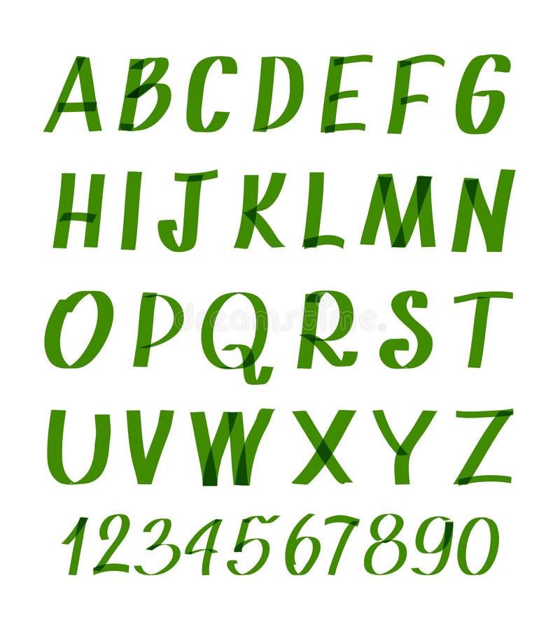 Tellersletters en getallen Vectorhand geschreven alfabet of kalligrafische doopvont stock illustratie