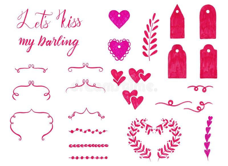 Tellersreeks Valentine-dagelementen voor ontwerp Sierkader, het van letters voorzien, harten, rozen, etiketten stock illustratie