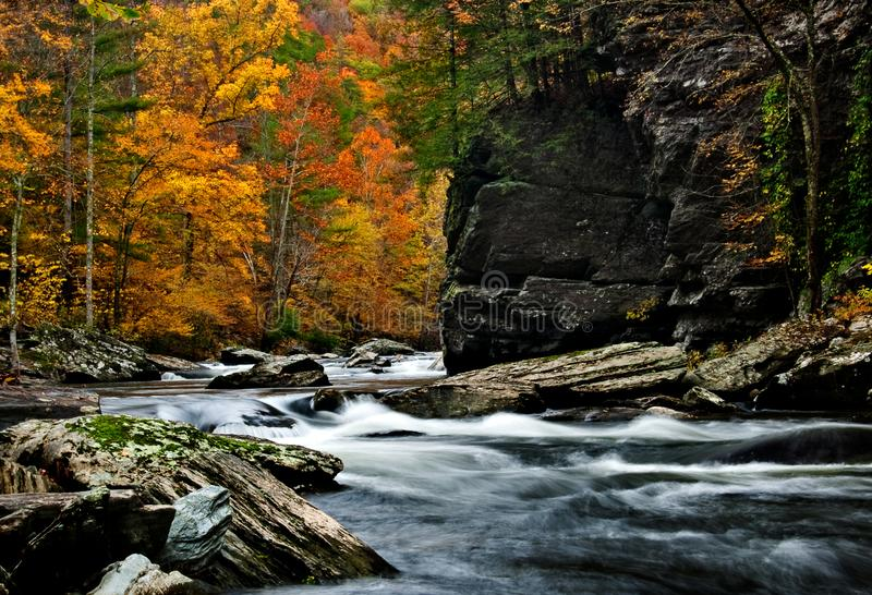 Tellico River autumn colors with blurred rushing water. Tellico River autumn colors with slow shutter speed blurred water in the rapids royalty free stock images