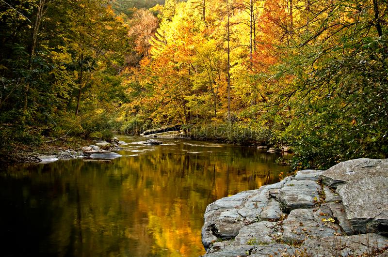 A river winds through the bright colors of autumn. The Tellico River winds through mountain rocks and the bright colors of autumn stock photography