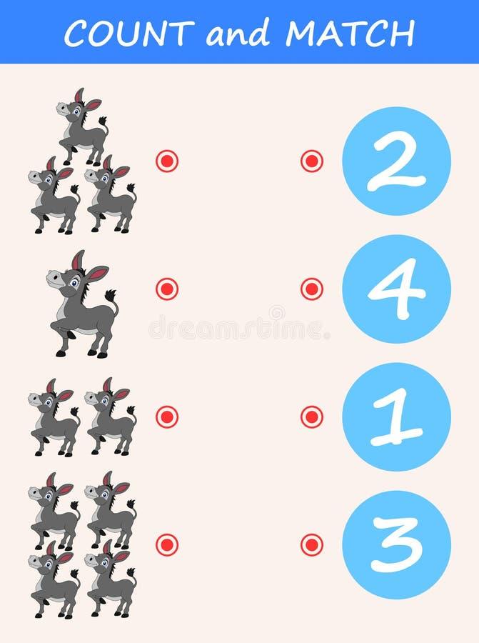 Telling en gelijkeezelsbeeldverhaal Wiskunde onderwijsspel voor kinderen royalty-vrije illustratie