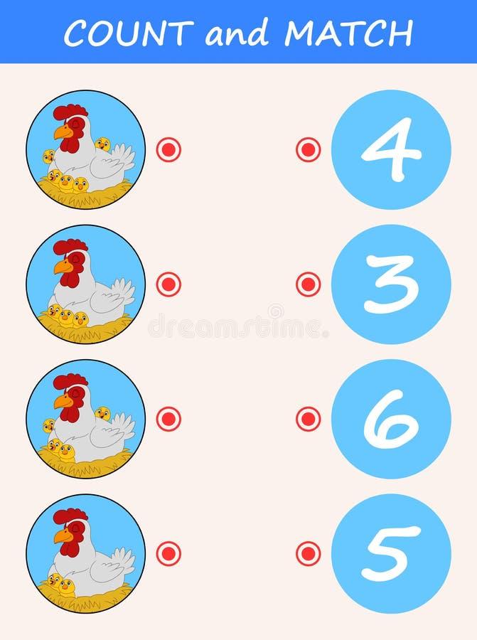 Telling en gelijkekippenbeeldverhaal Wiskunde onderwijsspel voor kinderen royalty-vrije illustratie