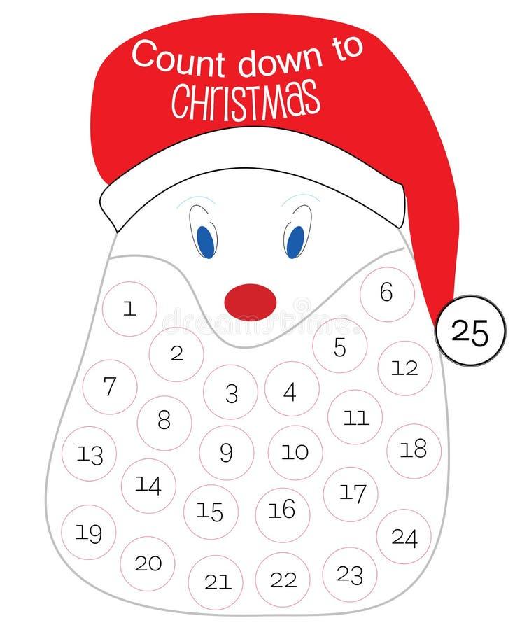Telling neer aan de kalender van Kerstmis royalty-vrije illustratie
