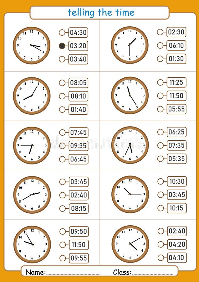 Telling the time, choose the correct time, worksheet for children, what is the time. Telling the time, choose the correct time, worksheet for kids, what is the stock illustration