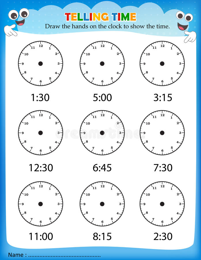 Time Worksheets telling time worksheets kindergarten : Telling time worksheet stock vector. Illustration of preschool ...