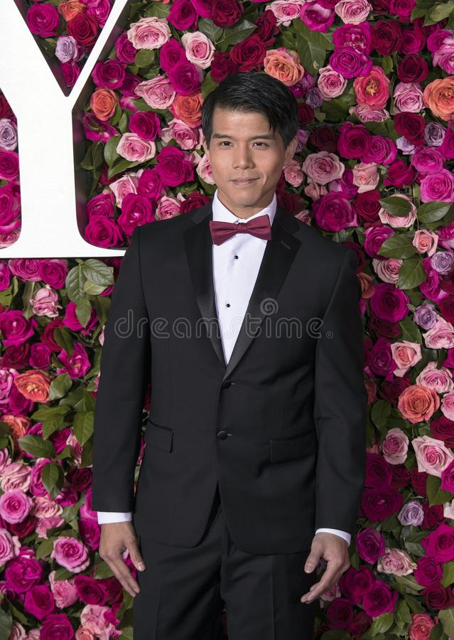 Telly Leung at the 2018 Tony Awards. Promising actor Telly Leung arrives on the red carpet for the 72nd Annual Tony Awards held at Radio City Music Hall in New royalty free stock photography