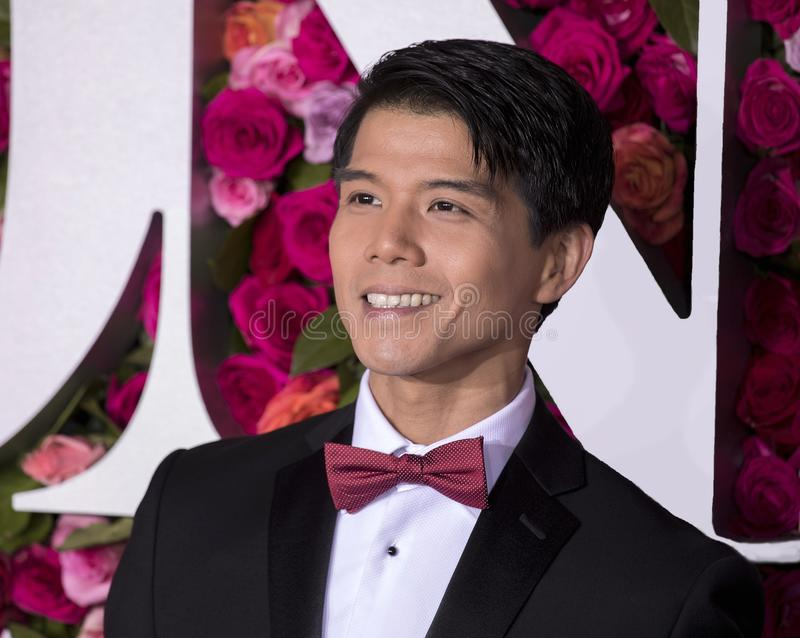 Telly Leung at the 2018 Tony Awards. Promising actor singer and songwriter Telly Leung arrives on the red carpet for the 72nd Annual Tony Awards held at Radio stock photography